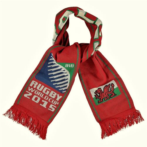 Official RWC Rugby World Cup 2015 Wales Flag Knitted Scarf Red BNWT