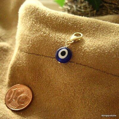 Glücksauge Charm Anhänger mit Gelbgold & Glas Auge, ca. 8 mm, blau, wählbar, NEU