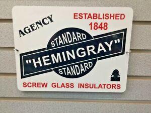 HEMINGRAY-Agency-Screw-Glass-Insulators-9-034-x-12-034-Metal-Tin-Aluminum-Sign