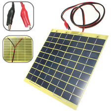 12V 5W Portable Solar Panel + Clips For Home Car Camping RV Boat Battery Charger