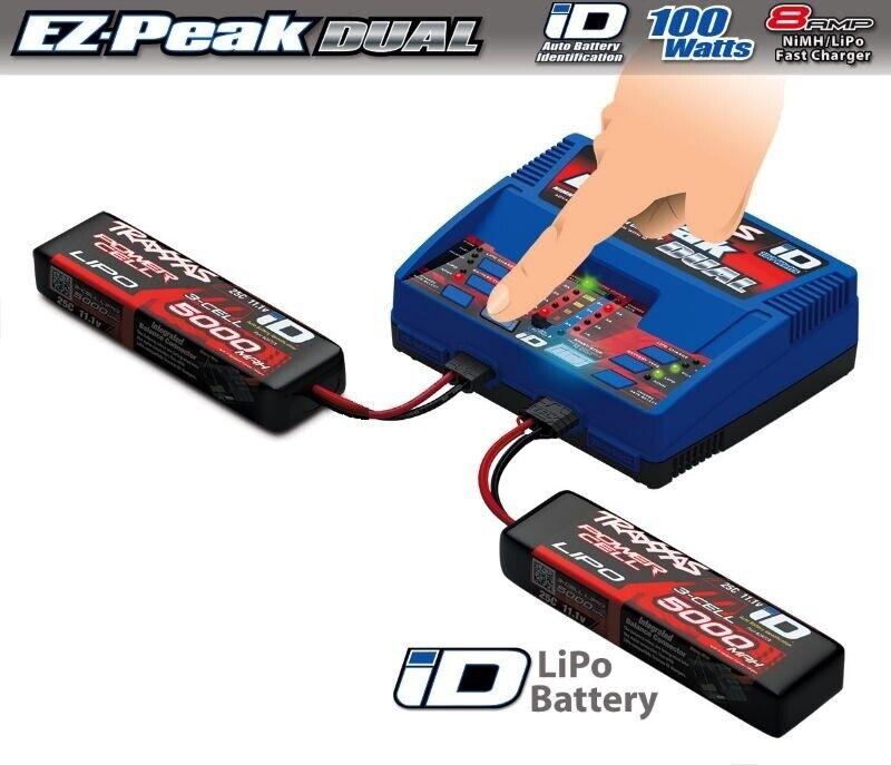 Traxxas dual ez-peak Plus-cargador 2972g + 2x 3s lipo 5000mah 2872x 2990g batería set