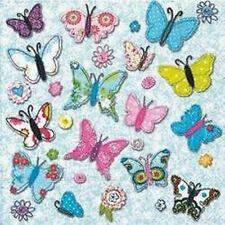 4 Carta Tovaglioli Farfalle e Fiori Luminosi Colorati APPLIQUE DECOUPAGE