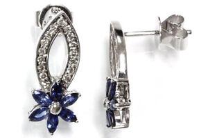 1-05-cttw-Natural-Blue-Sapphire-amp-Diamond-14k-White-Gold-Flower-Drop-Earrings