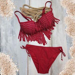 Detalles De Trajes Piedras Flecos Hippy Top Baño Boho Tribal Bikini Mujer Rojo Bañador w8mNnv0