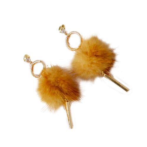 Lk /_ Gn Femmes Tendance Pompon Fourrure Douce Pendentif Boule Longue Boucles