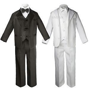 Baby Kid Teen Boys Black White Pick Paisley Wedding Formal Tuxedo Suits sz S-20