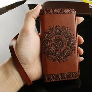Brown-Mandala-Embossed-Leather-Flip-Stand-Card-Wallet-Case-Cover-for-Cell-Phones