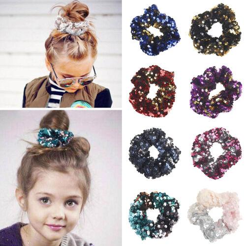 Womens Glitter Sequin Hair Band Rope Hair Ring Scrunchie Ponytail Holder Elastic