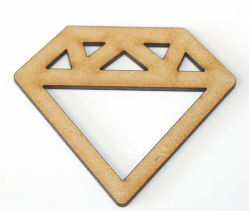 Wooden MDF Gem Diamond Ring Shapes Bunting Craft Embellishments Decoration