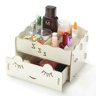 New DIY Wooden Organizer Drawer Storage Box Home Decor Cosmetic Jewellery Case