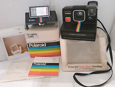 Polaroid SX-70 Rainbow Time-Zero OneStep Instant Camera +Q-Light Flash  TESTED