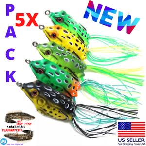 5x-de-haute-qualite-leurres-grenouille-Leurre-Crankbait-Hooks-Bass-Bait-Tackle-Nouveau