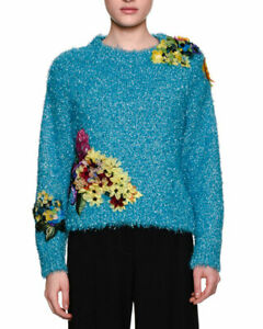 Dolce-amp-Gabbana-039-Silk-Floral-Appliqued-039-Fil-Coupe-Sweater-BNWT-IT44-UK12-M