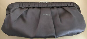 PICARD-Clutch-anthrazit-2-Schulterketten-fein-amp-grob-mit-rosen-edel-chic-Style