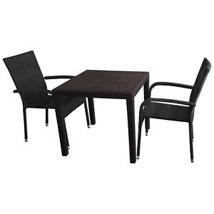 balkonm bel set gartengarnitur tisch 79x79cm 2x poly rattan stapelstuhl schwarz ebay. Black Bedroom Furniture Sets. Home Design Ideas