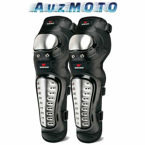 Details about  /Adult Motorcycle Knee Pads Stainless Steel Motocross Shin Guards MTB Protector