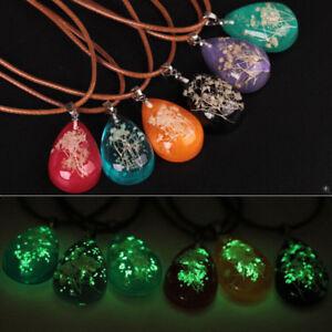 Bijoux Phosphorescent détails sur lc_ phosphorescent séché fleur pendentif en larme collier  femmes bijoux sanw