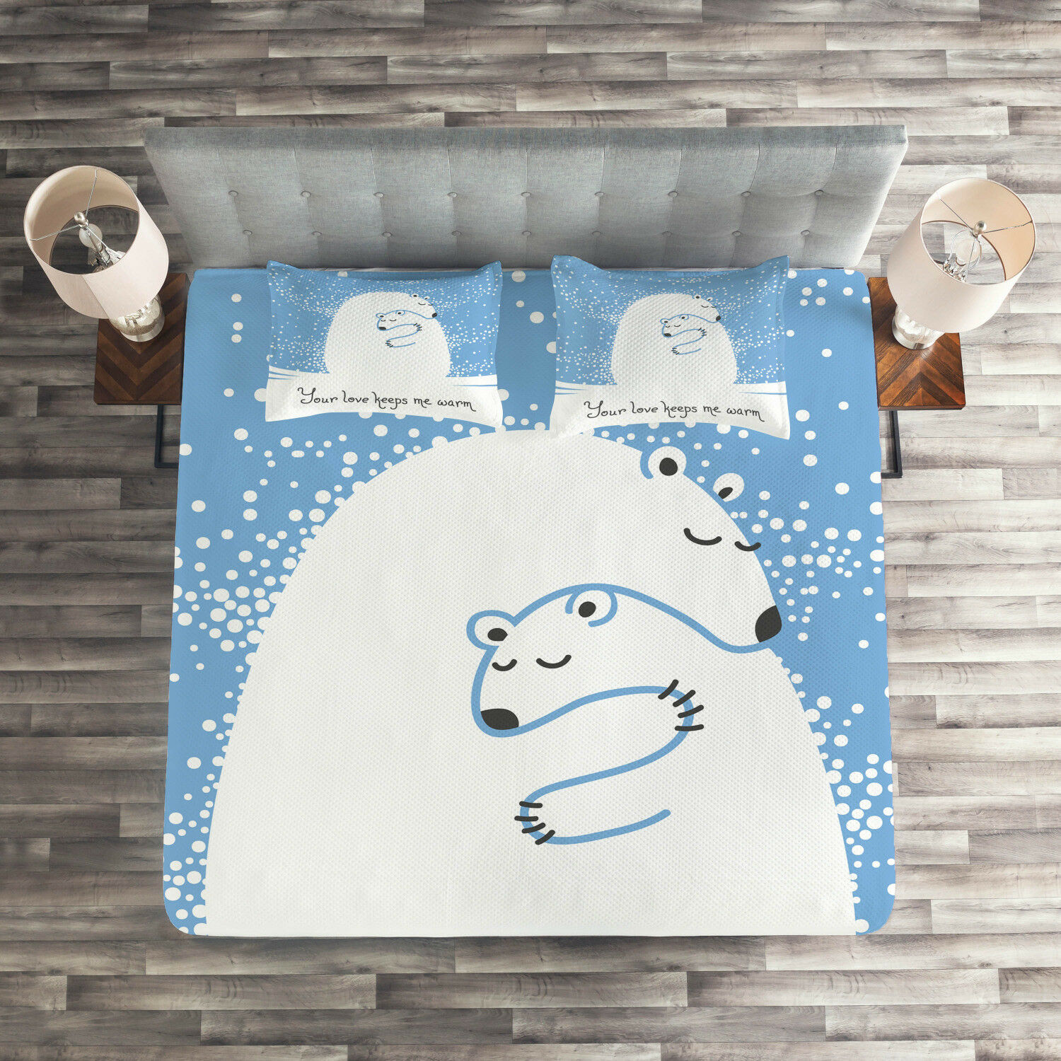 Winter Quilted Coverlet & Pillow Shams Set, Polar Bear Mother Baby Print