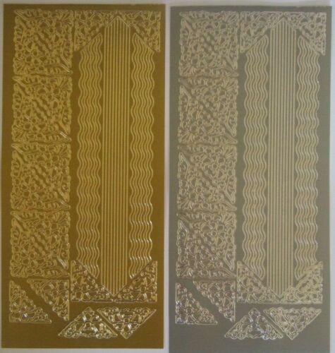 2 Feuilles de fleur de coin et ondulés lignes Peel-Off Or et Argent