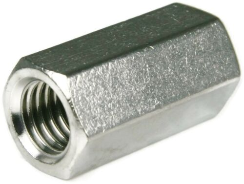 Qty 2 Rod Coupler Nut 1//4 UNC BSW 20mm Zinc Plated Steel Hex Coupling Connector