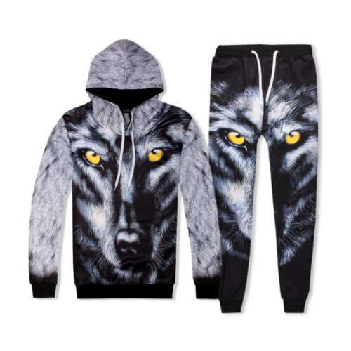 2019 Mens Hoodie Jogging Suits 3D Wolf Face Printed Pullover Training Jump Sets