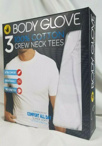 Body Glove 3 Pk 100/% Cotton Crew Neck T-Shirts L White SOFT Stretch SHIPS FREE
