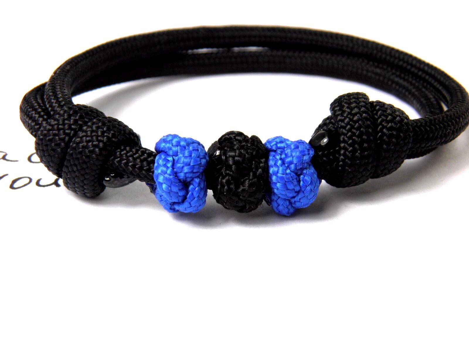 Unisexe Bracelet-thin paracord Bracelet-thin Unisexe Blue Line-police-Bracelet de surfeur-réglable - f66774