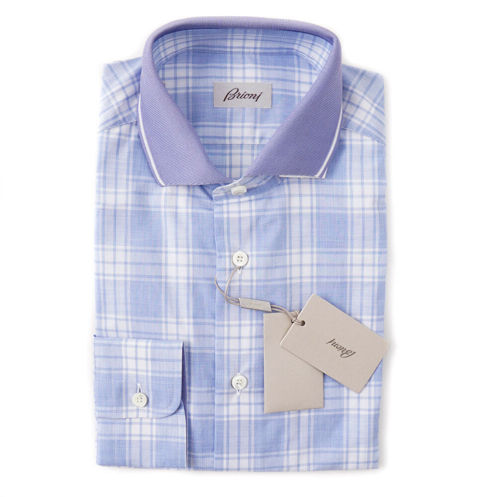 NWT  BRIONI Sky bluee Plaid Cotton Shirt with Knit Collar S Button-Front