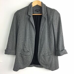 Topshop-Blazer-Jacket-8-UK-Monochrome-Floral-Print-Unstructured-Boyfriend-Soft