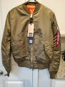 Alpha-Industries-MA-1-Bomber-Jacket-Vintage-Olive-Green-Men-039-s-sz-M-Slim-Small