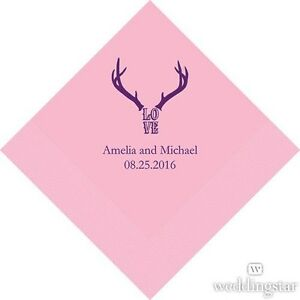 300 Love Antlers Rustic Western Personalized Wedding Luncheon Napkins