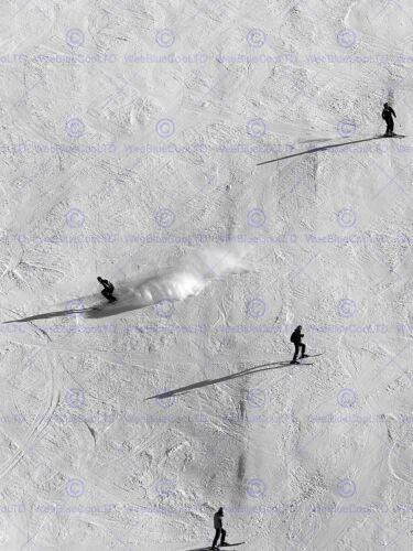 SKIERS SKIING SKI SNOW WINTER SILHOUETTE SHADOWS PHOTO ART PRINT POSTER BMP896A