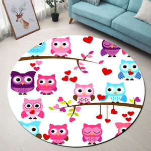 Image Is Loading Purple Pink Blue Cute Owls Round Floor Mat