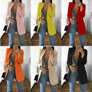 Jacket-Women-Formal-Coat-Slim-Casual-Blazer-Top-Outwear-Sleeve-Career-Long-Long