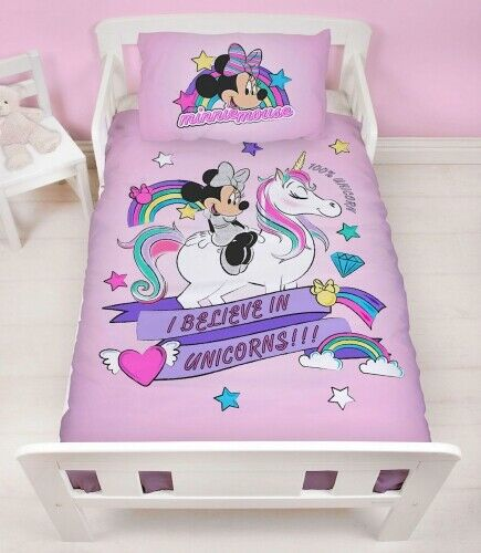 Junior Toddler or Cot Duvet Cover Bed Set Minnie Mouse I Believe In Unicorns