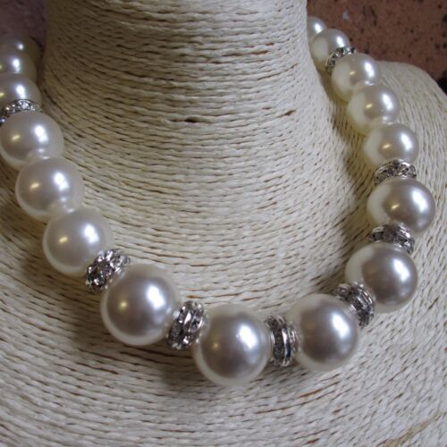 UK Seller Big Diamante /& Faux Pearl necklace Theresa May inspired design