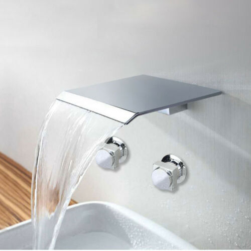 Wide Spout Bathroom Wall Mount Chrome Brass 2 Hole Mixer Tap Waterfall Faucet