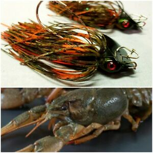 Bladed Swim Jig 3/8 Oz Bass Fishing Crank Baits Green Craw 2pk