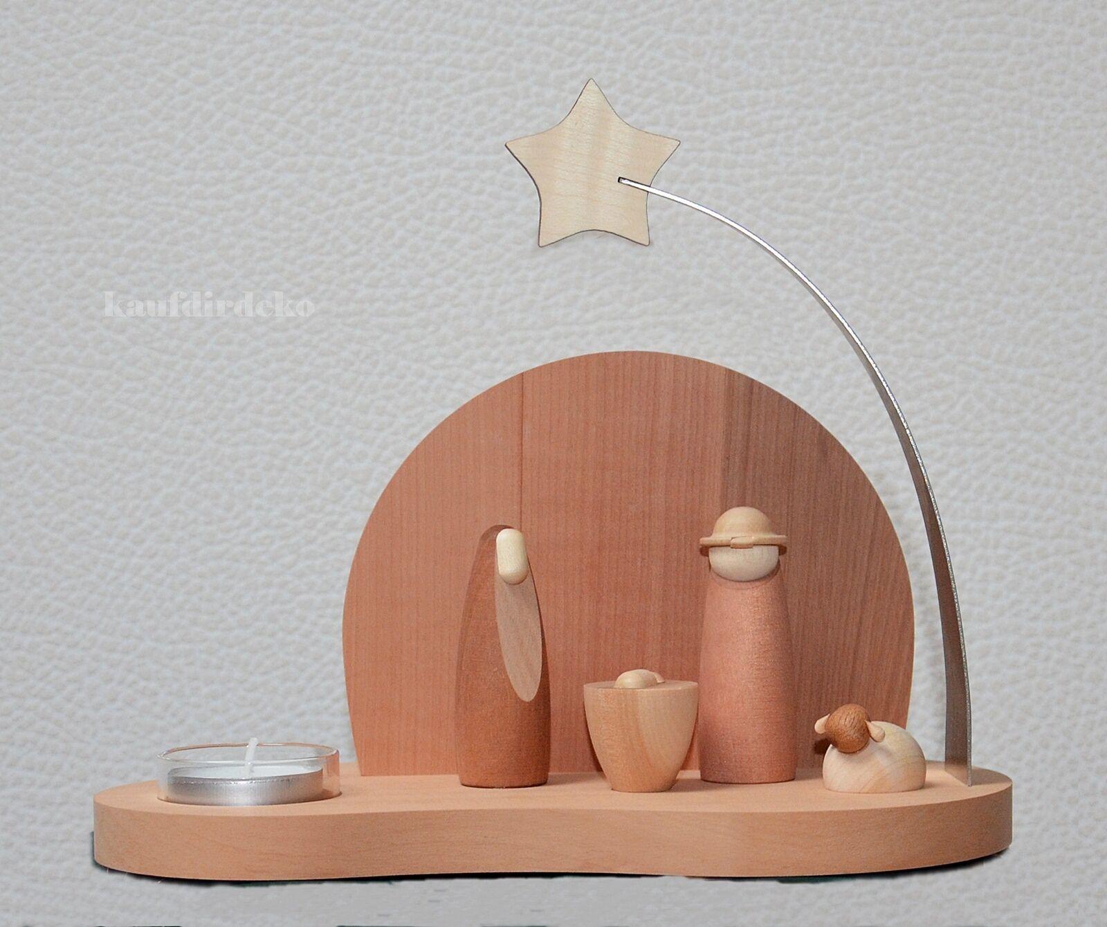 Lumignons support avec crèche Maria DESIGN MODERNE MODERN ART BOIS MASSIF les Monts Métallifères
