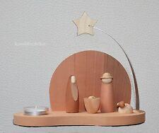 Teelichthalter mit Krippe Maria modernes Design Modern Art Massivholz Erzgebirge