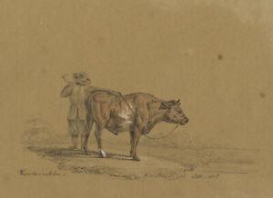 M. Heber, Cow & Herder after Adriaen van de Velde – 1818 graphite drawing