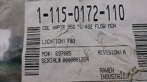 NEW Raven Cable, Adapter, -952 Cable to -492 Flow Monitor 1-115-0172-110