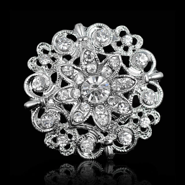 5d0639aa7 Wedding Bridal Silver Rhinestone Crystal Pearl Brooches Brooch Bouquet Pin  Party