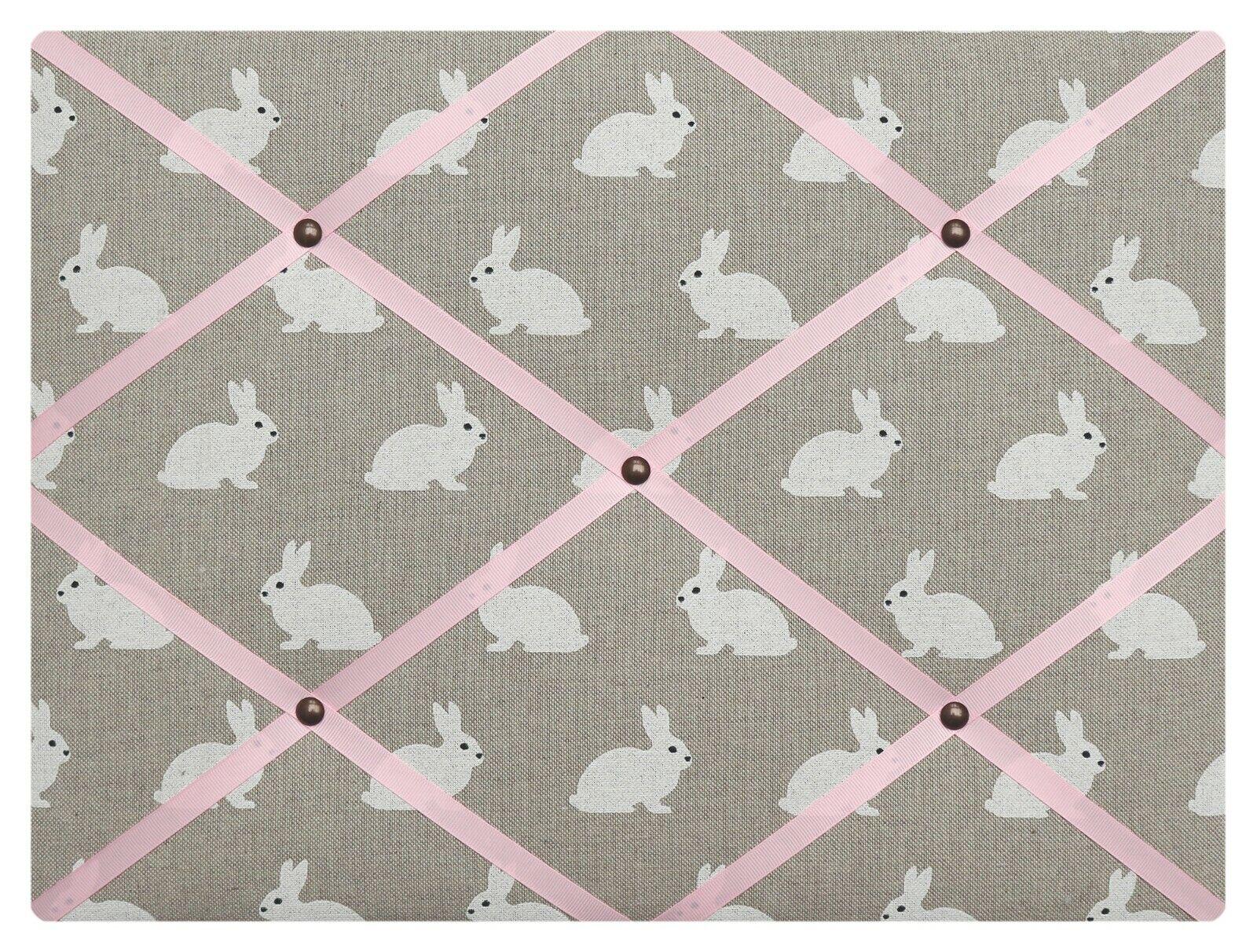 Bunny fabric notice board, pin board, many colourot ribbons, 60X50cm
