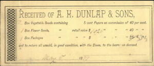 1897 New Hampshire (NH) Receipt A.H. Dunlap & Sons