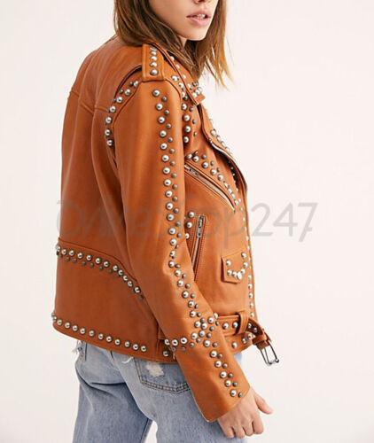 Zipper Brando Silver New Unique Women Style Studded Jacket Leather Tan EW0qO