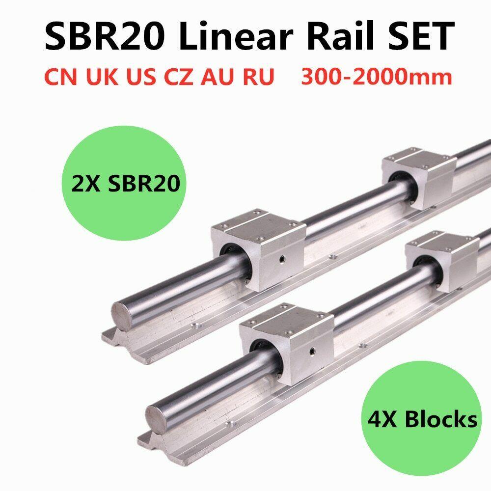 2pcs SBR20 200-2000mm Linear Guide Rail and 4pcs SBR20U