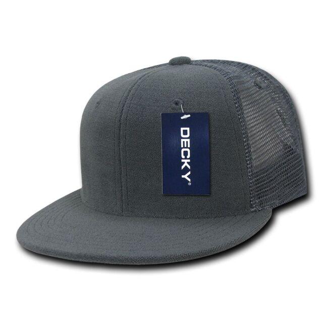 b00009b1c91 Grey TERRY CLOTH TRUCKER HAT Plain Blank Flat Bill Cap vtg retro Mesh  Snapback