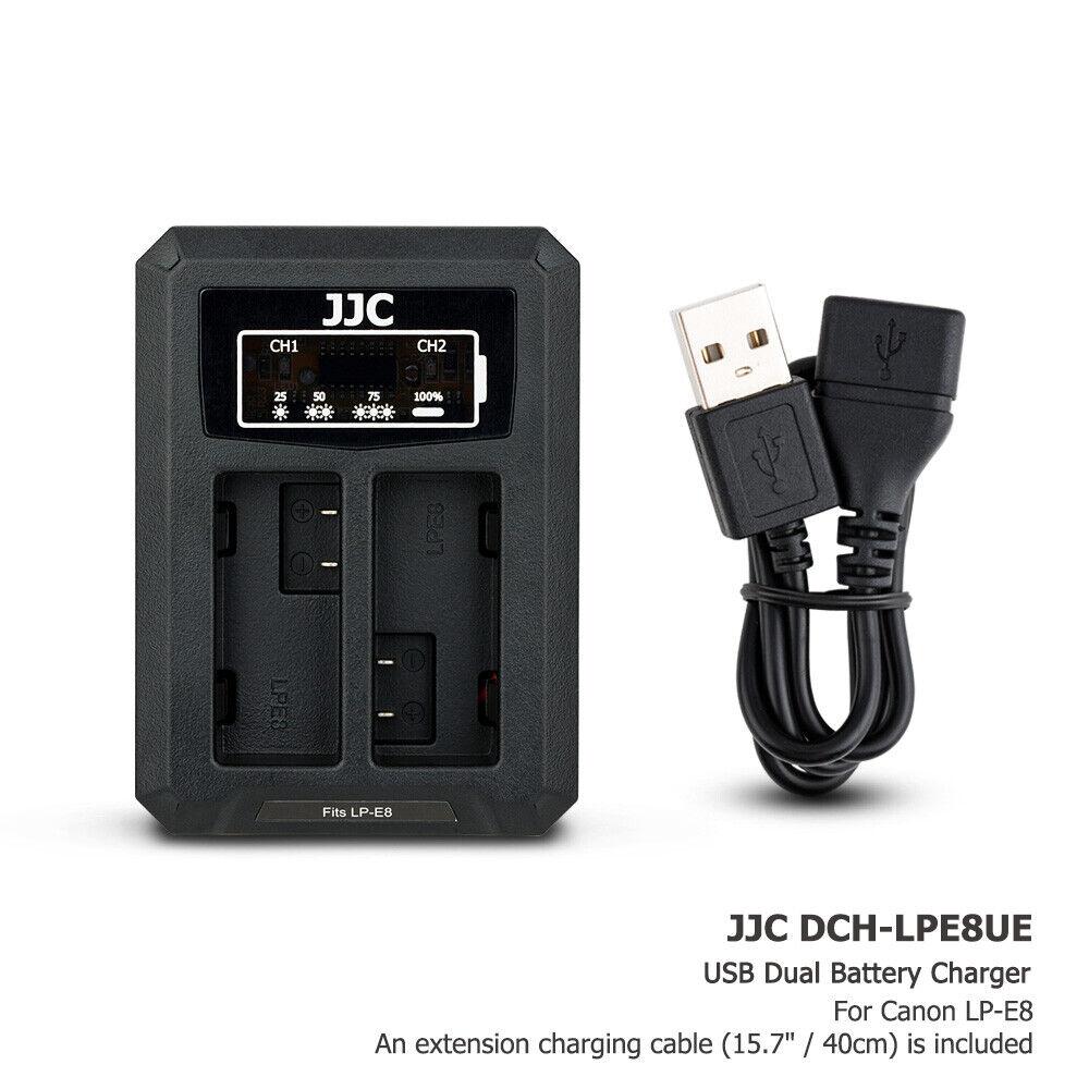 USB Dual Battery Charger fits LP-E8 fr Canon EOS 700D 650D 600D 550D Rebel T5i