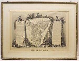 """"""" Dept Du Bas Rhin Carte Géographique Altas National Illustre """" Graphique En PréVenir Le Grisonnement Des Cheveux Et Aider à Conserver Le Teint"""